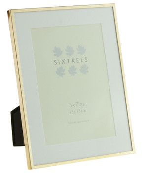 Sixtrees Park Lane Rose Gold narrow profile7 x 5 inch photoframe with a mount .