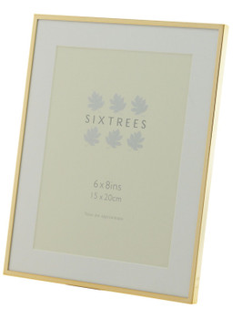 Sixtrees Park Lane Rose Gold narrow profile 8 x 6 inch photoframe with a mount .