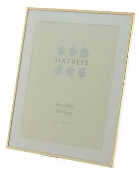 Sixtrees Park Lane Rose Gold narrow profile 10 x 8 inch photoframe with a mount.