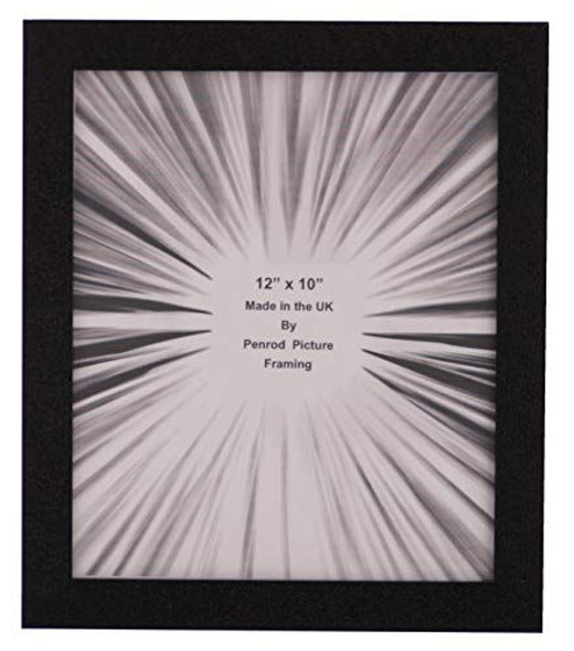 Penrod Picture Framing Charleston Shiny Embossed Black 12x10 inch photo frame with mirror effect edge.