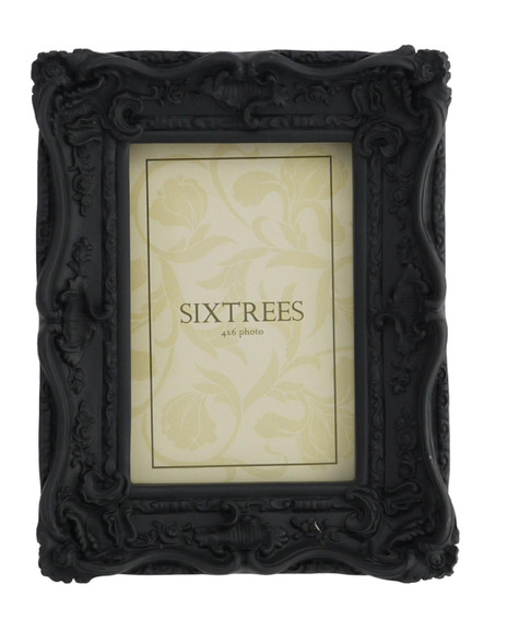 Sixtrees Chelsea 5-253-46 Shabby Chic Style Very Ornate Black 6x4 inch Photo Frame