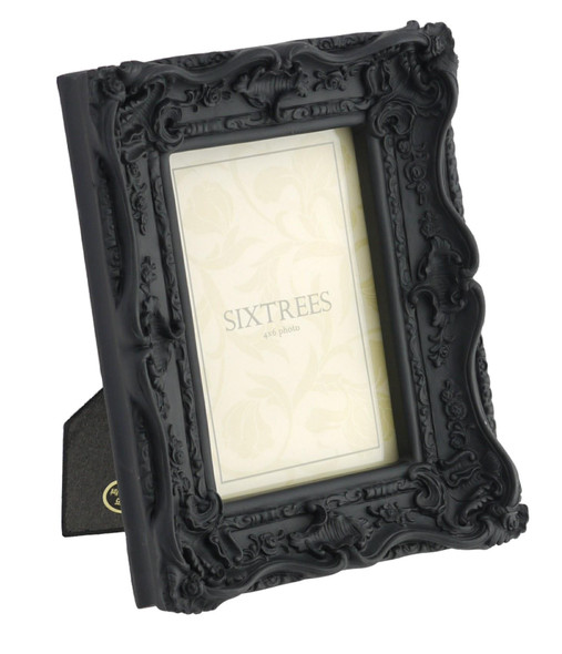 Shabby Chic Style Very Ornate Black Photo Frame for 6x4 (152x102mm) Pictures by Sixtrees
