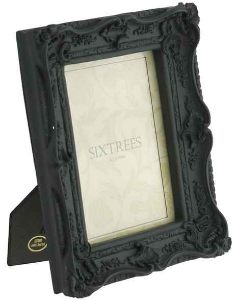 "Shabby Chic Ornate Chelsea Swept Photoframe - Matt Black 5"" x 7"""