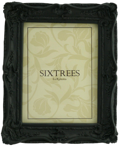 Sixtrees Chelsea 5-253-68 Shabby Chic Style Very Ornate Matt Black 8x6 inch Photo Frame