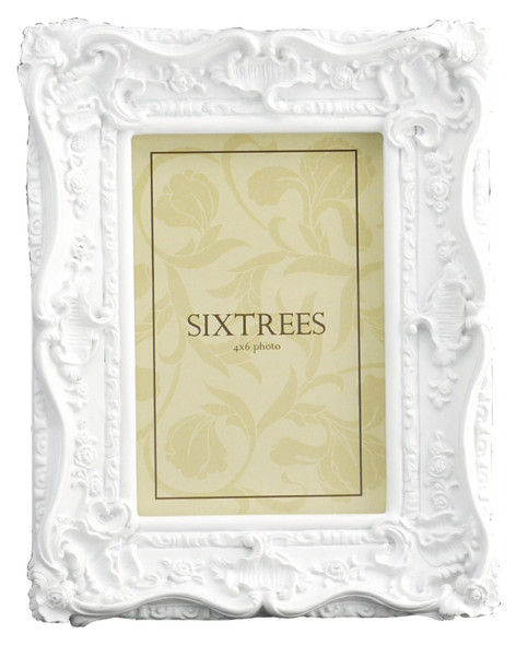 Sixtrees Chelsea 5-254-46 Shabby Chic Style Very Ornate White 6x4 inch Photo Frame