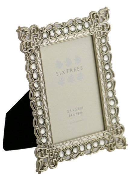 "Sixtrees Adelaide Antique Vintage and Shabby Chic Style silver metal photo frame with beads and crystals for a 3.5"" x 2.5"" (64 x 89mm) picture"