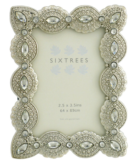"Sixtrees Cecilia Antique Vintage and Shabby Chic Style silver metal photo frame with beads and crystals for a 3.5"" x 2.5"" (64 x 89mm) picture"