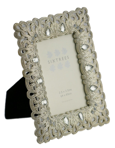 "Sixtrees Diana Antique Vintage and Shabby Chic Style silver metal photo frame with beads and crystals for a 3.5"" x 2.5"" (64 x 89mm) picture"