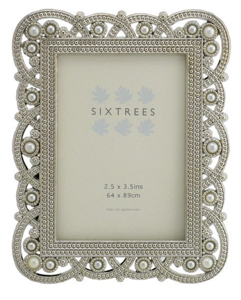 "Sixtrees Louisa Antique Vintage and Shabby Chic Style silver metal photo frame with beads and crystals for a 3.5"" x 2.5"" (64 x 89mm) picture"