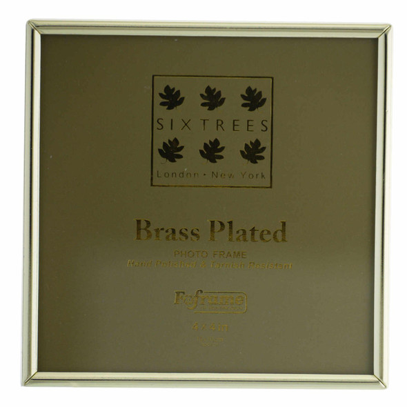 "Sixtrees Hartford 1-400-44. Brass Plated Photo Frame for a 4"" x 4"" (102mm x 102mm) Picture"