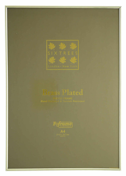 Sixtrees Hartford 1-400-A4 Brass Plated Photo Frame for an A4 certificate sized (297mm x 210mm) Picture.