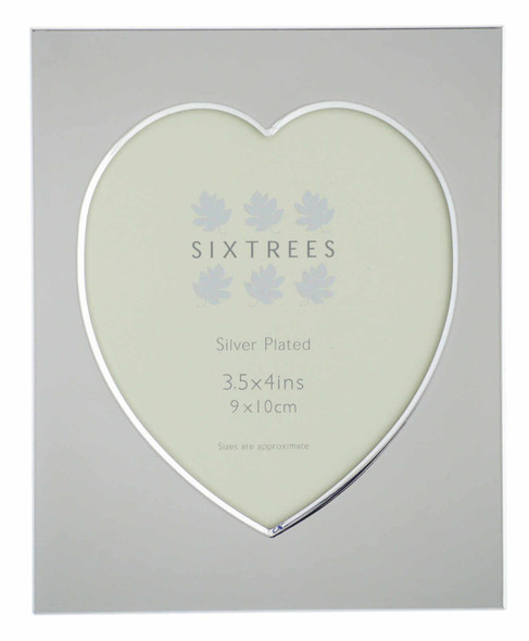 Sixtrees Romeo Heart Shaped silver plated photo frame for a 3.5 inch x 4 inch (90mm x 100mm) picture.