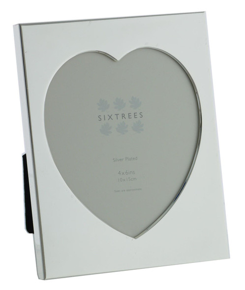 "Sixtrees Romeo Heart Shaped silver plated photo frame for a 4"" x 6"" (102mm x 152mm) picture."