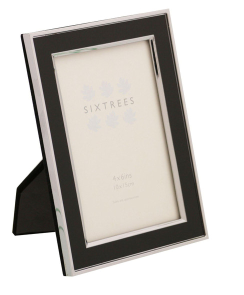Sixtrees Abbey Black 2-101-46 Polished Silver photo frame with lacquered Black gloss metal insert for a 6 x 4 inch (152x102mm) picture.