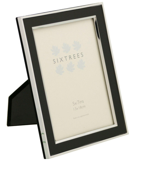 Sixtrees Abbey Black 2-101-57 Polished Silver photo frame with lacquered Black gloss metal insert for a 7 x 5 inch photo.