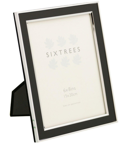 Sixtrees Abbey Black 2-101-68 Polished Silver photo frame with lacquered brushed metal insert for an 8 x 6 inch photo.