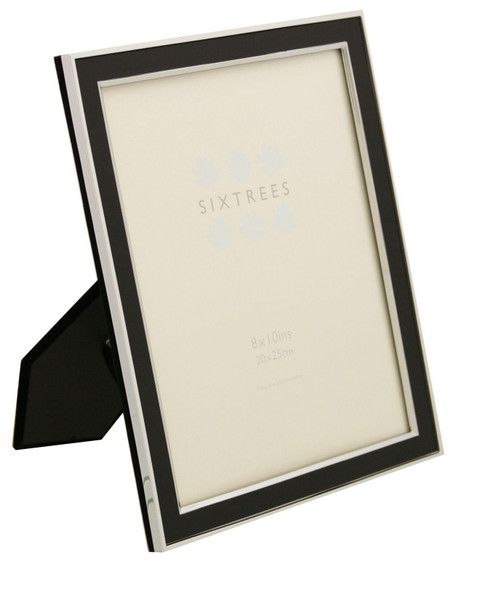 Sixtrees Abbey Black 2-101-80 Polished Silver photo frame with lacquered gloss black metal insert for a 10 x 8 inch photo.