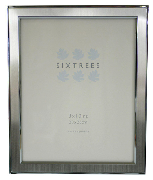 Sixtrees Abbey Pewter 2-102-80 Polished Silver photo frame with lacquered brushed metal insert for a 10 x 8 inch picture.