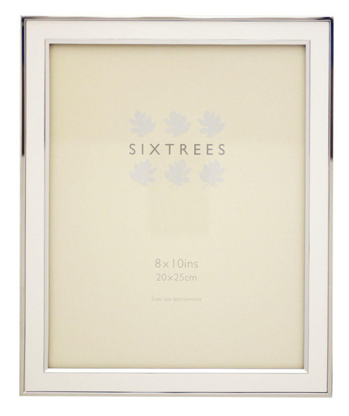 Sixtrees Abbey White 2-103-80 Polished Silver photo frame with lacquered gloss white metal insert for a 10 x 8 inch photo.