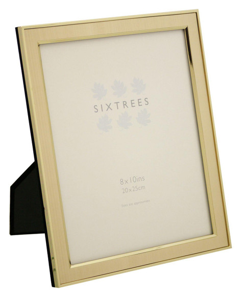 """Sixtrees Abbey 2-104-80 Polished Gold photo frame with lacquered brushed metal insert for a 10"""" x 8"""" photo."""