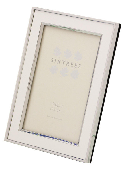 "Sixtrees 2-103-46 Abbey White Polished Silver photo frame with lacquered gloss metal insert for a 6"" x 4"" photo."