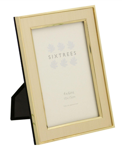 """Sixtrees Abbey 2-104-46 - Polished Gold photo frame with lacquered brushed metal insert for a 6"""" x 4"""" photo."""