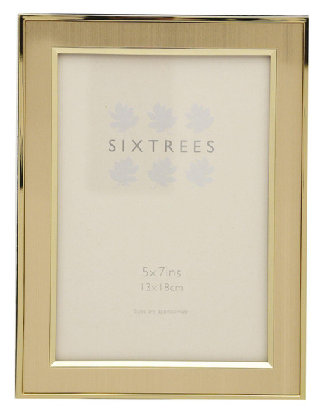 """Sixtrees Abbey 2-104-57 Polished Gold photo frame with lacquered brushed metal insert for a 7"""" x 5"""" picture"""