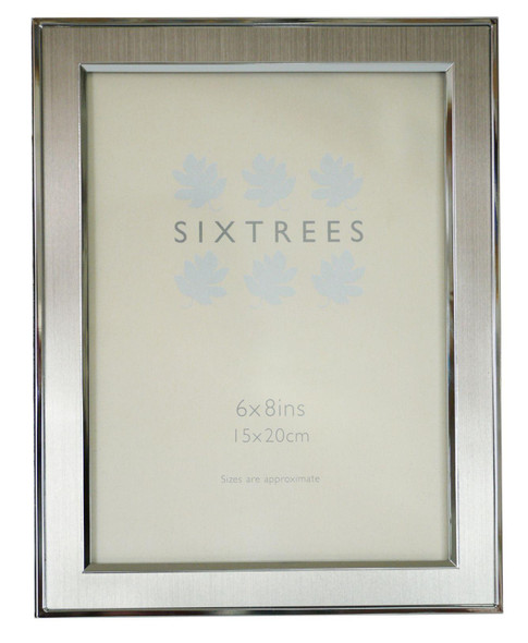 "Sixtrees Abbey Pewter 2-102-68 Polished Silver 8x6 inch photo frame with lacquered brushed pewter metal insert (8"" x 6"" 203mm x 152mm)."