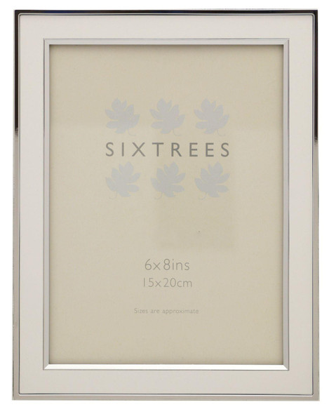 Sixtrees Abbey White 2-103-68 Polished Silver photo frame with lacquered gloss white metal insert for an 8 x 6 inch photo.