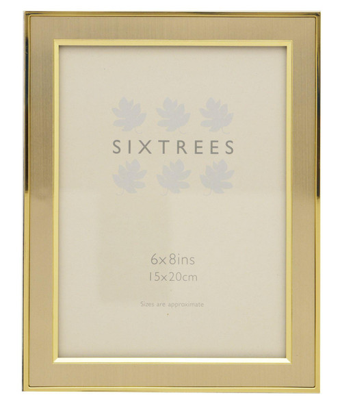 "Sixtrees Abbey 2-104-68 Polished Gold photo frame with lacquered brushed metal insert for an 8"" x 6"" photo."