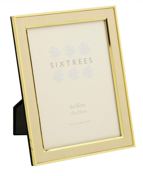 """Sixtrees Abbey 2-104-68 Polished Gold photo frame with lacquered brushed metal insert for an 8"""" x 6"""" photo."""