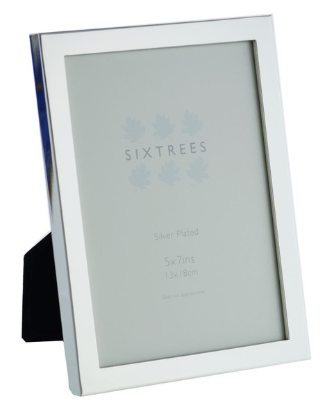 Sixtrees Elite Square Edge Silver Plated 7x5 inch (178x127mm) Photo Frame
