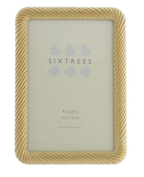 """Sixtrees Ava Ornate Gold Metal finish ropework effect photoframe for a 6""""x 4"""" (150mm x 100mm) picture."""