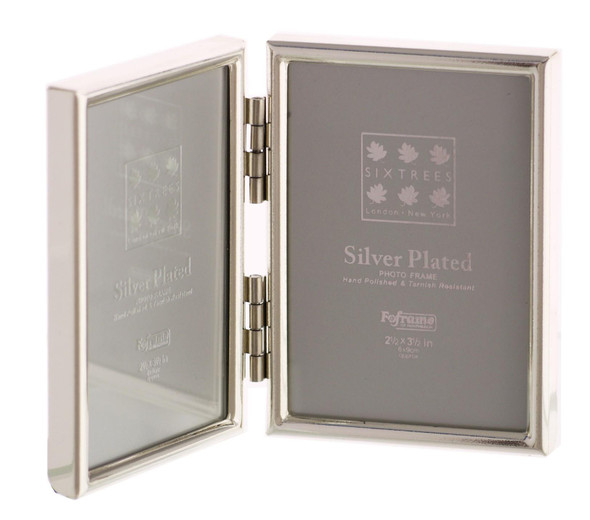 "Sixtrees Cambridge 2-400-02 Silver Plated Folding Photo Frame for two 3.5"" x 2.5"" (77mm x 51mm) Pictures"