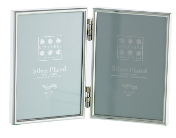 "Sixtrees Cambridge 2-400-03 Silver Plated Folding Photo Frame for two 5"" x 3.5"" (127mm x 89mm) Pictures"