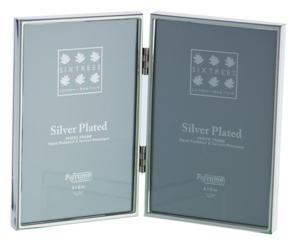 "Sixtrees Cambridge 2-400-04 Silver Plated Folding Photo Frame for two 6"" x 4"" (152mm x 102mm) Pictures"