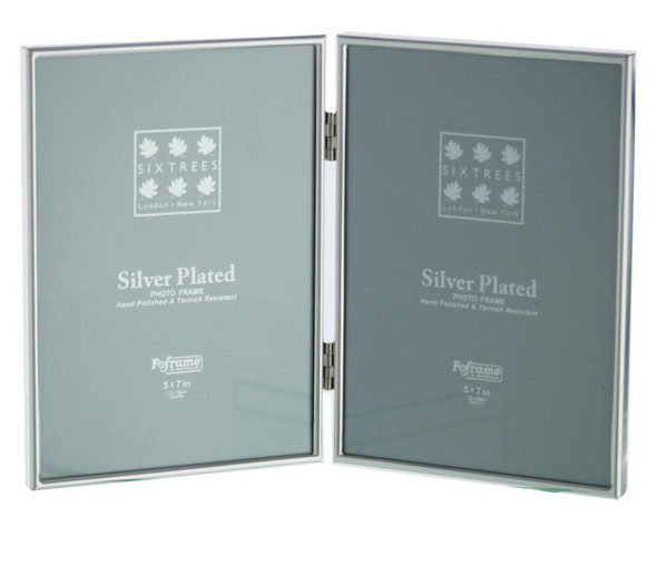 "Sixtrees Cambridge 2-400-05 Silver Plated Folding Photo Frame for two 7"" x 5"" (178mm x 127mm) Pictures"