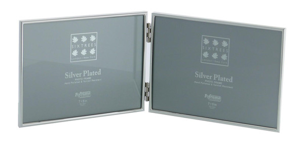 "Sixtrees Cambridge 2-400-75HD Silver Plated Folding Photo Frame for two 5"" x 7"" Pictures."