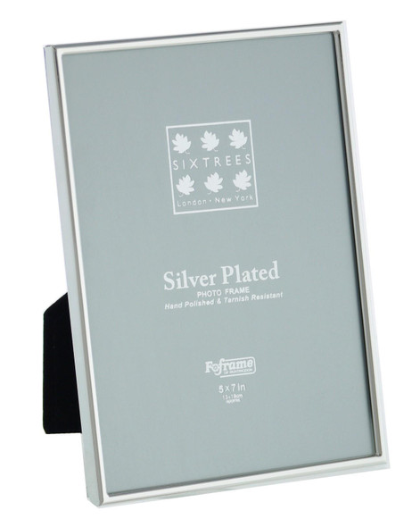 Sixtrees Cambridge 2-400-57 5 x 7-inch (178x127mm)  Narrow Rim  Silver Plated Photo Frame.