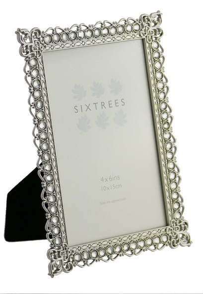 "Sixtrees Adelaide Antique Vintage and Shabby Chic Style silver metal photo frame with beads and crystals for a 6"" x 4"" (152 x 102mm) picture"