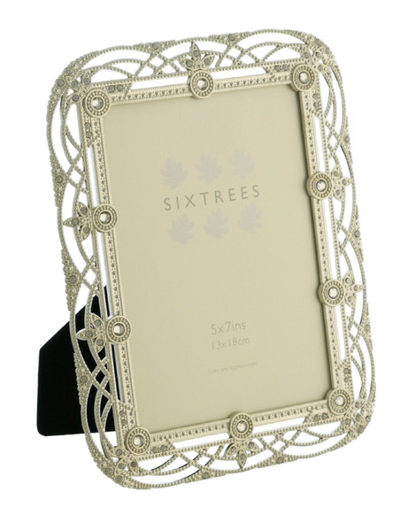 "Sixtrees Alice Antique Vintage and Shabby Chic Style silver metal photo frame with beads and crystals effect for a 7"" x 5""  picture."