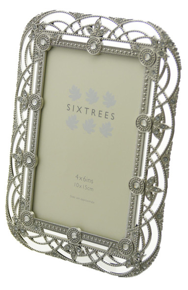"Sixtrees Alice Antique Vintage and Shabby Chic Style silver metal photo frame with beads and crystals effect for a 6"" x 4""  picture."