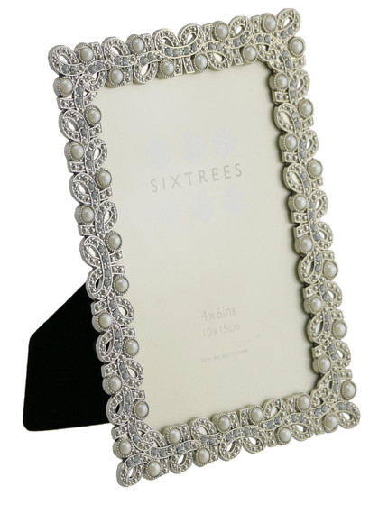 "Sixtrees Beatrice Antique Vintage and Shabby Chic Style silver metal photo frame with beads and crystals effect for a 6"" x 4"" (152 x 102mm) picture."