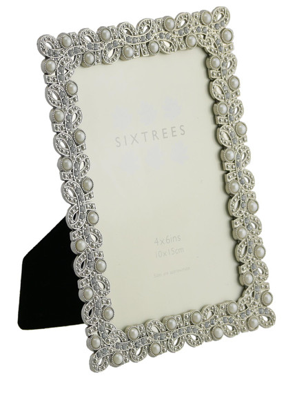"Sixtres Beatrice Antique Vintage and Shabby Chic Style silver metal photo frame with beads and crystals effect for a 7"" x 5"" (178 x 127mm) picture."