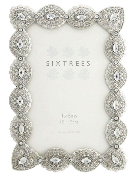 "Sixtrees Cecilia Antique Vintage and Shabby Chic Style silver metal photo frame with beads and crystals for a 6"" x 4""  picture"
