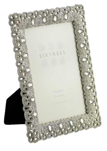 "Sixtrees Diana Antique Vintage and Shabby Chic Style silver metal photo frame with beads and crystals for a 6"" x 4"" picture"