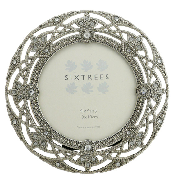 "Sixtrees Helena Antique Vintage and Shabby Chic Style silver metal photo frame with beads and crystals for a 4"" (102mm diameter) picture."