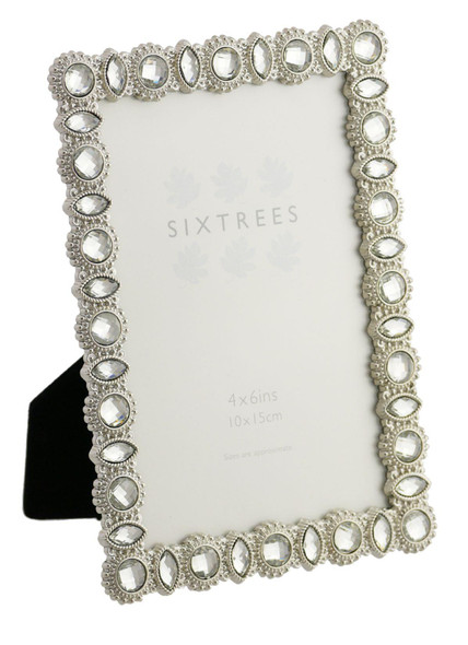 "Sixtrees Maria Antique Vintage and Shabby Chic Style silver metal photo frame with beads and crystals for a 6"" x 4"" picture."