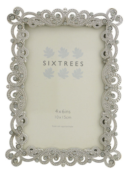 """Sixtrees Matilda Antique Vintage and Shabby Chic Style silver metal photo frame with beads and crystals for a 6"""" x 4"""" picture."""