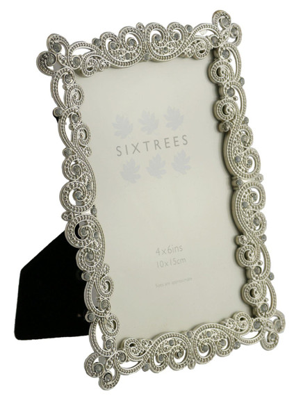 "Sixtrees Matilda Antique Vintage and Shabby Chic Style silver metal photo frame with beads and crystals for a 6"" x 4"" picture."